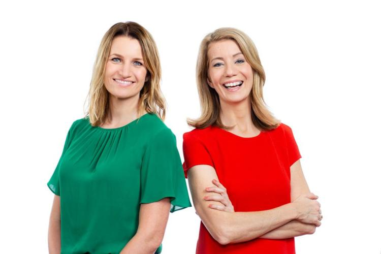 Lynsey Hooper in a green short and Kait Borsay in a red shirt